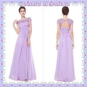 Dresses & Skirts - 🆕💜Lavender Lace Chiffon Grecian Flowy Dress💜